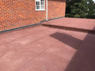 red flat roof installed