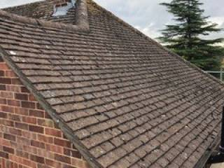 repaired roof of the house